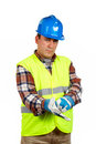 Construction worker with glove Royalty Free Stock Images