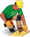 Construction worker with hard hat safety glasses and drill Royalty Free Stock Photos