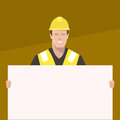 Construction worker holding a blank sign. Flat vector illustration. Royalty Free Stock Photo