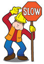 Construction worker holding sign purpose directing traffic Stock Photography