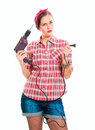 Construction worker housewife young Royalty Free Stock Photo