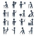 Construction worker icons black Royalty Free Stock Photo