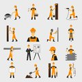 Construction worker icons flat Royalty Free Stock Photo