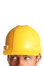 Construction worker looking worried Royalty Free Stock Photo