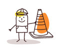 Construction Worker Man With a Cone Sign Royalty Free Stock Photo