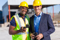 Construction worker manager cheerful african and portrait outdoors Royalty Free Stock Images