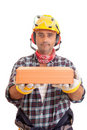 Construction worker offering services Stock Photos