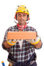 Construction worker offering services Royalty Free Stock Image