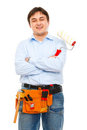 Construction worker with painting brush Royalty Free Stock Image