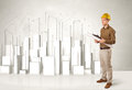 Construction worker planing with 3d buildings in background Royalty Free Stock Photo