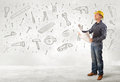 Construction worker planing with hand drawn tool icons Royalty Free Stock Photo