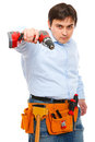 Construction worker pointing electric screwdriver Stock Image