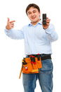 Construction worker pointing on mobile Royalty Free Stock Photos