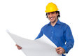 Construction worker reviewing blueprint architect with hard hat holding plan Stock Photos
