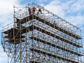 Construction worker on a scaffold Royalty Free Stock Photo