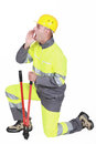 Construction worker shouting to his colleague Stock Photography