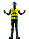 Construction worker signaling safety vest extend b one with boom silhouette isolated in white background Stock Photos