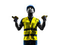 Construction worker signaling safety vest extend boom silhouette Royalty Free Stock Photo