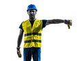 Construction worker signaling safety vest lower boom silhouette one with isolated in white background Royalty Free Stock Image