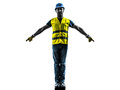 Construction worker signaling safety vest silhouette one with isolated in white background Stock Photos