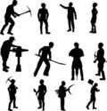 Construction Worker Silhouettes Royalty Free Stock Photo