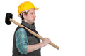 Construction worker with a sledgehammer Royalty Free Stock Photo