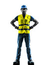 Construction worker standing safety vest silhouette one with isolated in white background Royalty Free Stock Photo