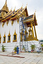 Construction worker are standing on the scaffold bangkok thailand december for renovating temple dusit maha prasat in Stock Image