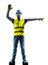Construction worker stop gesture detour silhouette Royalty Free Stock Photo