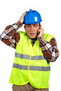 Construction worker with surprised expression Stock Images