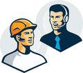 Construction worker telemarketer retro illustration of a with bluetooth earpiece talking to customer service salesman with Royalty Free Stock Photos