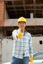 Construction worker with thumbs up Stock Images