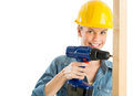 Construction worker using power drill on wooden plank portrait of beautiful isolated over white background Royalty Free Stock Image