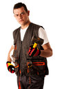 Construction worker in work dress isolated over white background angry Royalty Free Stock Photography