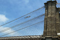 Construction workers crew repair cables on the Brooklyn Bridge Royalty Free Stock Photo