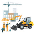 Construction workers with equipment Royalty Free Stock Photo