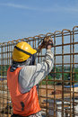 Construction workers fabricate retaining wall reinforcement bar at the construction site selangor malaysia – february Stock Images