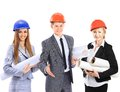 Construction workers group isolated over white background Royalty Free Stock Images