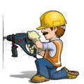 Construction workers nailling cartoon illustration of a worker drilling on a wall Stock Photo