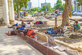 Construction workers relax at