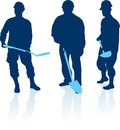 Construction workers silhouette Stock Photos