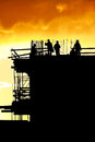 Construction workers silhouettes Royalty Free Stock Photo