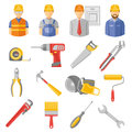 Construction workers tools flat icons set and renovation with work project manager and carpentry abstract isolated vector Stock Image