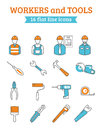Construction workers tools line icons set project manager with foreman and collection poster abstract vector illustration Stock Photography