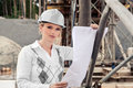 Construction a young female constructor at building of a new motorway in germany Royalty Free Stock Images