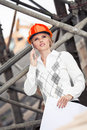 Construction a young female constructor at building of a new motorway in germany Royalty Free Stock Photography