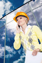Construction a young female constructor at building of a new motorway in germany Stock Photo