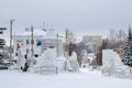 Constructions for children from snow and ice in yuryuzan city Royalty Free Stock Photography
