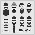 Constructor with different hipster glasses, beards, mustaches, ties and bow ties. Hipster design on gray background. Royalty Free Stock Photo