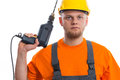 Constructor with drill isolated white background Stock Images